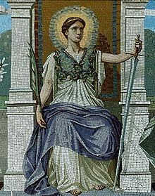 Law, a mosaic by Frederick Dielman (1847-1935)